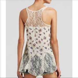 Free People Floral and Lace Trapeze Tank. Size M.